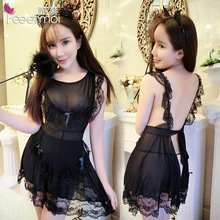 Pink Black Woman Sexy Lingerie Maid Costume Erotic Lace Backless Lingerie Hot Sex Clothes Negligee Sleepwear Porn Baby Doll(China)