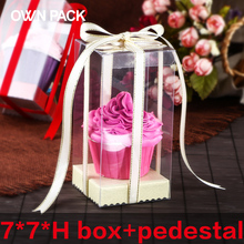 Direct Selling clear box 10pcs/lot 7*7*H and pedestal/gifts box  wedding gifts for guests/ plastic container/ macarons package