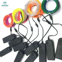 3V Inverter With 2.3mm Flexible 2M Fluoresence EL Wire Rope Tube Neon Cold Light for making Glow Party Car Decoration