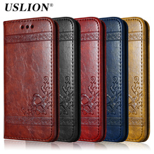 USLION Flip Wallet Leather Case For iPhone 7 7 Plus 6 6s Plus 5 5s SE 4s Retro 3D Print Flower Luxury Phone Case Full Cover Bags(China)