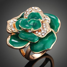 Green Big Flower Rhinestone Setting Alloy Luxurious Exaggerated Statement Ring Women  Rings Party Ball Epoxy Jewelry
