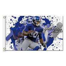 Victor Cruz NEW YORK GIANTS Flag Football Team 3 X 5ft World Series Banners Champions Banner 100D Polyester Banner(China)