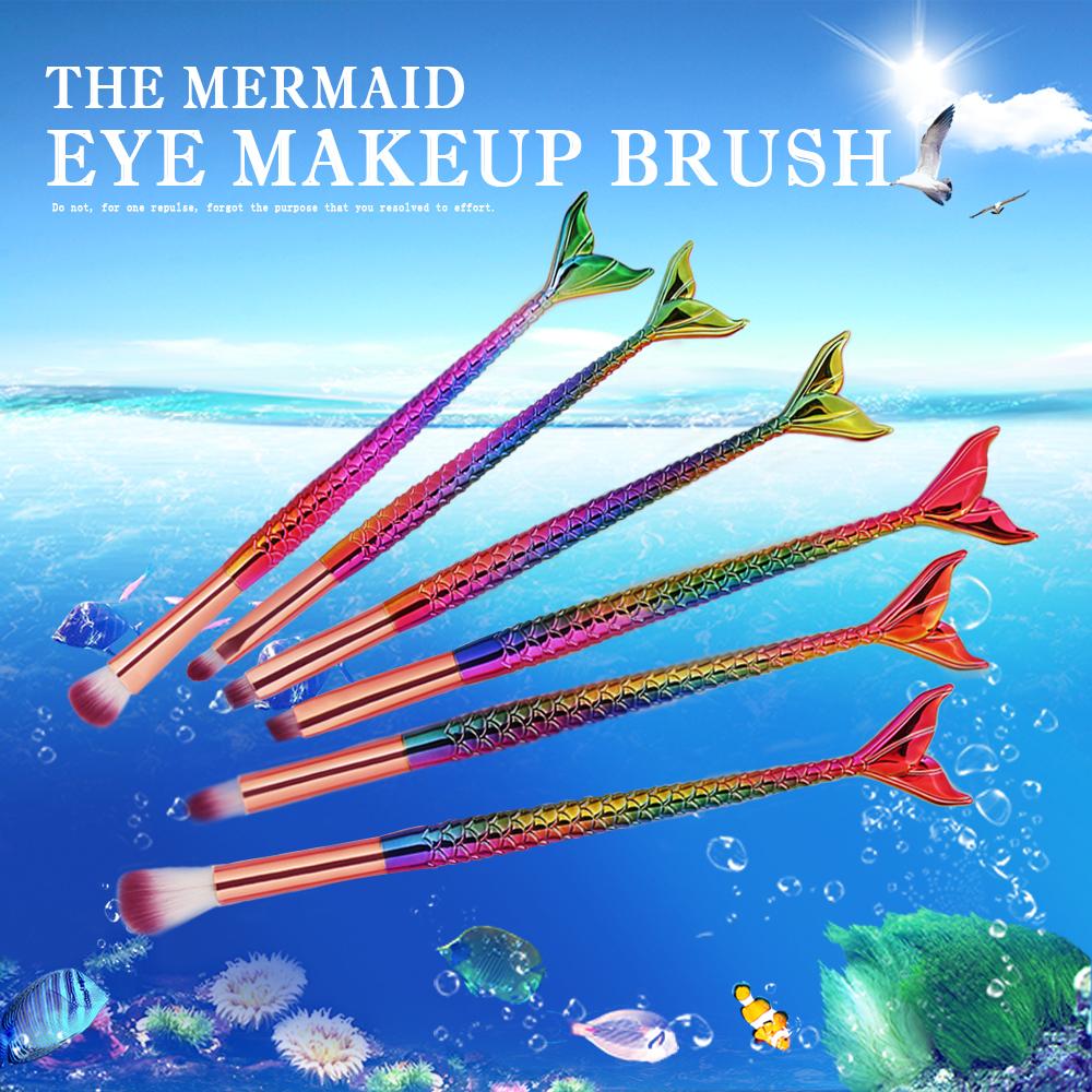 6 PCS Mermaid Cosmetic Makeup Brushes Set