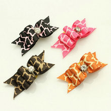 Wholesale Pet Product Hand Made Dog Grooming Pet Hair Bows Doggie Boutique Puppy Bands Giraffe Ribbon With Rhinestone 50PCS/LOT(China)