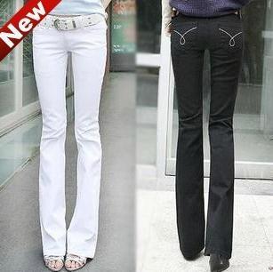 New Designer Brand Fashion Women White Slim Boot Cut Jeans women Skinny flare pants jeansОдежда и ак�е��уары<br><br><br>Aliexpress
