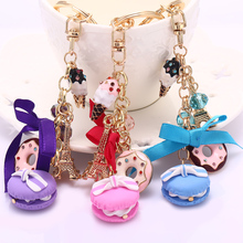 Novelty Keychain!Fashion Rhinestone Cake Macarons France LADUREE Key Chains Holder Charm Women Bag Decoration Jewelry Gift R011(China)