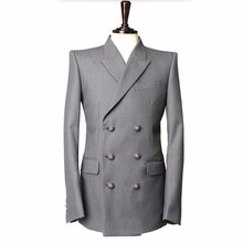 Buy HB021 Gray men suits jacket double breasted groom wedding tuxedos jacket custom made formal business suits jacket Male Suit for $78.00 in AliExpress store