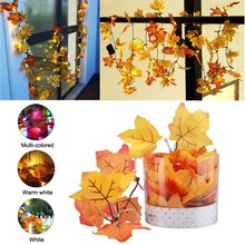 165CM Fall Leaves LED String Light Battery Powered 10 LED Fairy Light Autumn Leaf Hallowmas Christmas Party Decor Lamp DC3V
