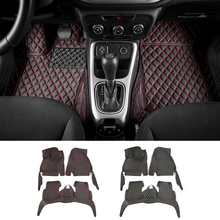Car Interior Accessories Leather Floor Mats Carpets Foot Pads Kit For Jeep Compass 2017+