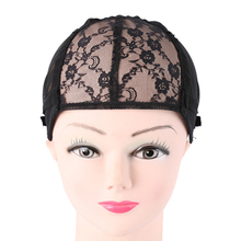 Black Silk And Lace Adjustable Hair Wig Cap Free Full Lace Wigs Cap For Making Weaven Wigs Net With Straps(China)