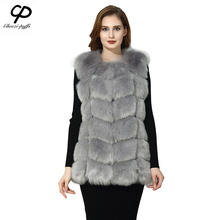 CP Brand Faux Fur Vest Winter Warm Long Women Faux Fox Fur Vest Furry Slim Woman Fake Fur Vest Plus Size Fur Vests High Quality(China)