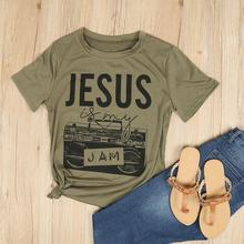 Jesus Is My Jam Fashion Letter Print Women T-Shirt Green O-Neck Short Sleeve Casual Top 2017 Summer Basic T Shirt(China)