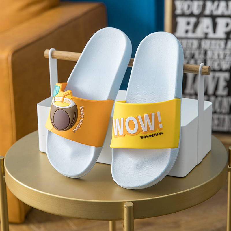 Women Summer Slippers Beach Slides Cartoon Fruits Lemon Cherry Men Couples Home Sandals Shoes Ladies Bathe Flip Flops
