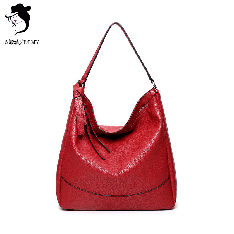 New Women Large Bag Lychee Pattern Solid knot Handbags Russia Fashion Large-capacity Red Single Shoulder Bag Factory Direct Sale<br>