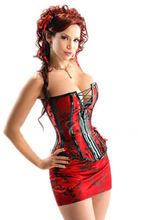Free shipping  New SEXY RED BONED CORSET BASQUE Skirt Thong Set size UK 8-14 Lingerie
