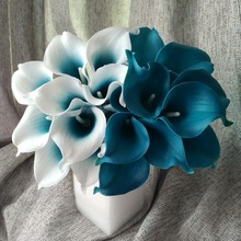 100 Real Touch Calla Lily Teal Latex Calla Lilies Teal Blue Wedding Flower For Wedding Centerpieces Decoration Wholesale Flowers(China)