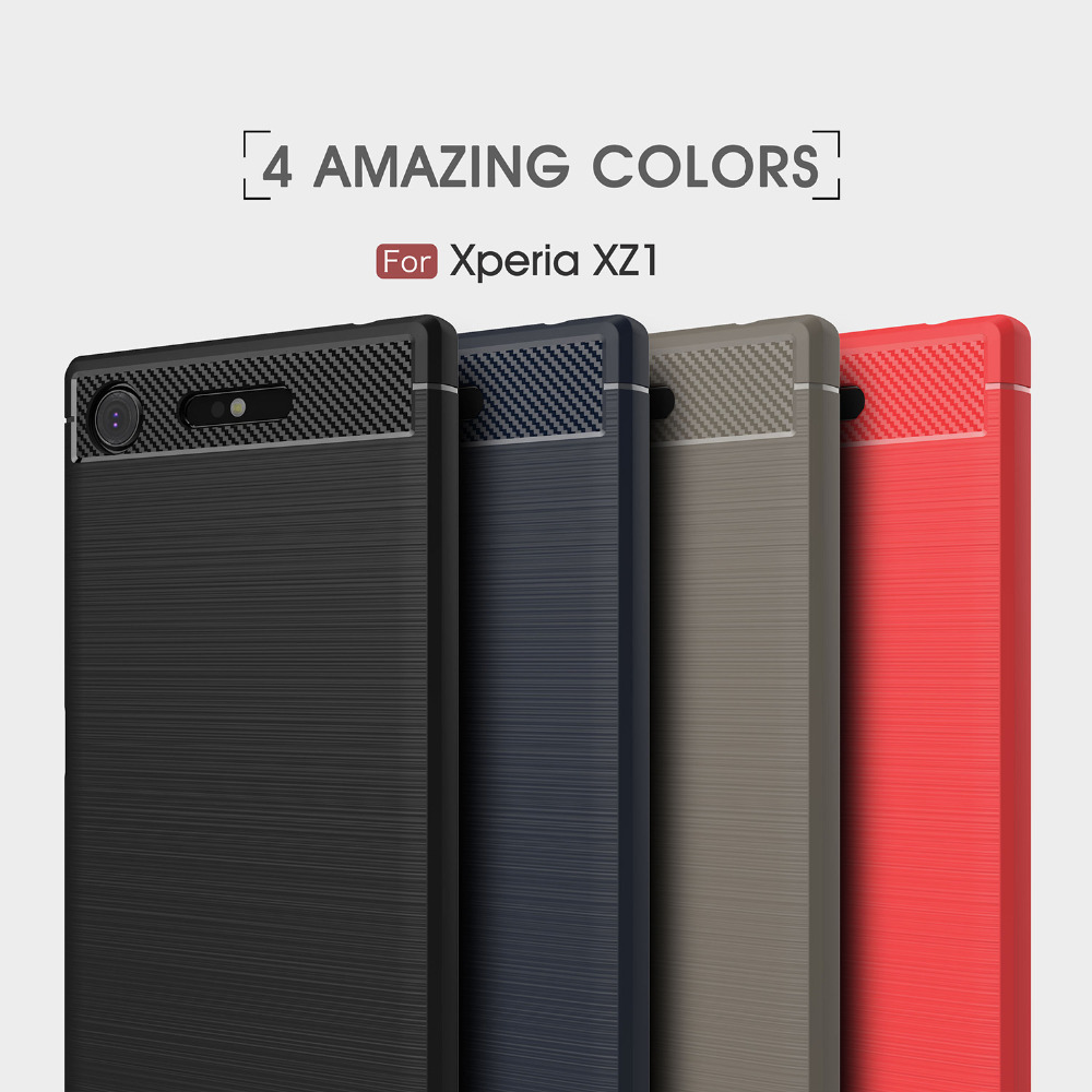 AXBETY Carbon Fiber Protection Case For Sony Xperia XZ1 compact cover caseFor Sony Xperia XZ1 Luxury Silicon Slim Soft TPU Cover(China)