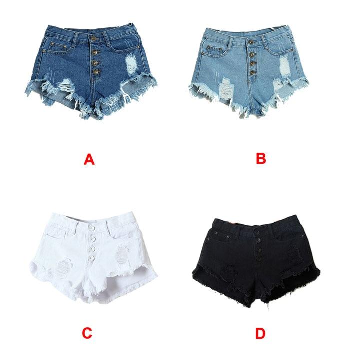 2017 Hot Summer Female Mid Waist Denim Shorts Women Worn Loose Burr Hole Jeans Shorts Blue White Black Denim Shorts High Quality