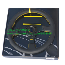 LYJ 13 Inch Flat Car Steering Wheel With Yellow Strip Yellow Words 13'' Real Leather Car Steering Wheel 5142-8K-ZP-YOMP(China)