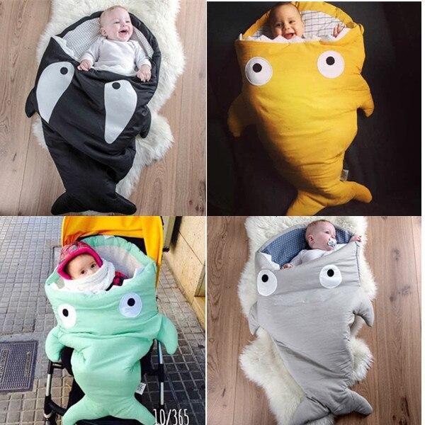 Envelope Newborns Baby Shark Sleeping Bag For Winter Strollers Bed Swaddle Blanket Wrap Cute Cartoon Bedding Sleep sacks 7 Color<br>
