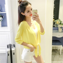 2017 Summer New Pattern Ultrathin Cardigan Air Conditioner Upper Garment Woman Ice Silk Knitting Sunscreen Sweater Sweater Hot