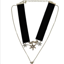 Women Fashion Black Velvet Choker Alloy Flower Charms Short Necklace 2 Layer Modern Design Party Club Jewelry