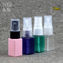 10ml Square Plastic Spray Bottle Refillable Women Perfume Sprayer Cosmetic Makeup Water Atomizers Pink Green Blue(China)