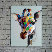 Hand Painted Abstract Animal Oil Painting on Canvas Knife Acrylic Colorful Giraffe Paintings Modern Home Decor Wall Art Pictures