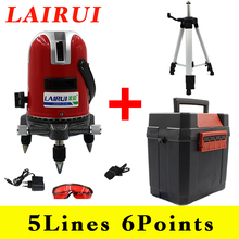 LAIRUI 5 lines 6 points laser level 635nm 360 degree rotary cross laser line level with Tilt Slash Function and tripod