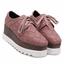 New Arrival Women's Casual PU Fabric Shoes Platform Flat Square Single Sneakers F-2168(China)
