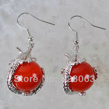 Fashion Jewelry Natural Stone Red Carnelian Bead Dragon Dangle Earrings Jewelry Free Shipping U352