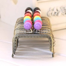 10pcs/lot 7.5CM square bronze knurling Small Candy bead Metal Purse frame,Metal-opening Bags Kiss Clasp FREESHIPPING(China)