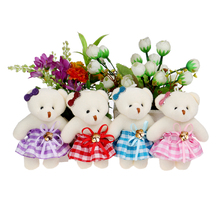 Mobile charm accessory teddy bear girls toys doll bouquets flower bear mini plush&stuff promotional gift bear for christmas gift(China)