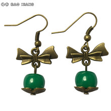 New Fashion Jewelry Restore Ancient Eardrops Earrings Bronze Bow-knot Green Imitation Beeswax Handmade Dangler Women Accessories
