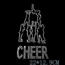 "Free shipping  Rhinestone Transfer "" Cheer Pyramid "" Hotfix, Iron On, Bling, Spirit, Cheerleader"