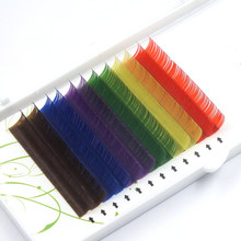 12Rows/Set 6Colors Natural False Eyelash Extension Mixed Rainbow 0.1mm Colorful Makeup Tools