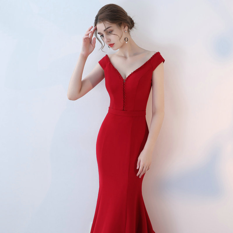 Elegant Burgund Mermaid Bridesmaid Dresses 2018 New Sexy Bridesmaid Dress Long V-Neck Elastic Satin Crystal wedding Party Gowns 5