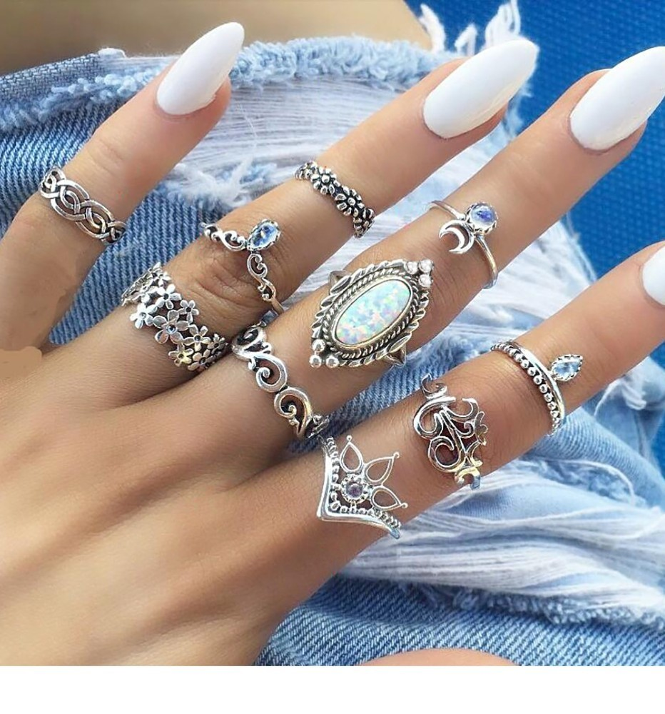 Bague Femme Vintage Rings for Women Boho Geometric Flower Crystal Knuckle Ring Set Bohemian Midi Finger Jewelry Silver Color 57