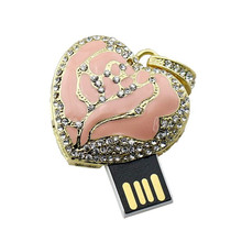 Crystal Heart Shaped USB Flash Drive Necklace 4GB 8GB 16GB 32GB Rose heart gift pen drive mini Disk on key