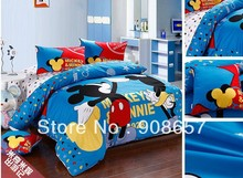 twin full queen king duvet covers cartoon bedding sets blue mickey minnie mouse print boys children's girls bed linens 3pcs 4pcs