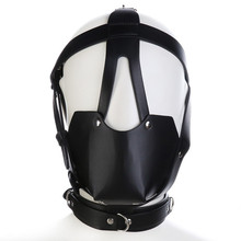 Buy Adult Game PU Leather Head Harness BDSM Bondage Gay Mouth Mask Ball Mouth Gag Fetish Salve Restraint Sex toys Couples