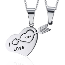 Lovers Blue Black Silver Color Heart Arrow Pendant Necklaces 316L Stainless Steel Fashoin Jewelry J-CN-045