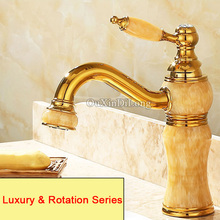 High Quality Brass Jade Basin Faucets Torneira European Luxury Golden Bath Faucets Vacuum Coating Bathroom Basin Sink Mixer Taps