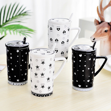 Modern Creative Cup 350ml Ceramic Milk Coffee Mug Cup Lovely Girl Cute Couples Cups with Lid and Spoon Valentine Gift Office Cup(China)