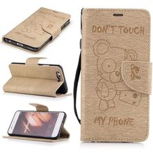 For Huawei P10 Lite Leather Flip Case With String Cute Bear Stand Wallet Cover Case For  Huawei P10 Lite