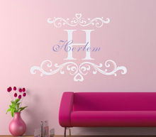 X012 Baby name decal with damask  monogram name wall sticker for nursery decor