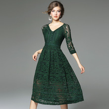 Spring Autumn boutique lace hollow out dress high quality gauze splicing fashion sexy seven sleeve V neck women dresses B713(China)