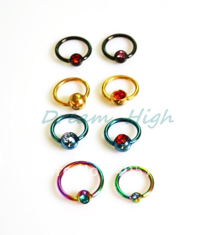 New arrive Jewelry Titanium Ball Closure Ring Jewelled Labret Ring Earring Eyebrow 16G 100pcs/lot
