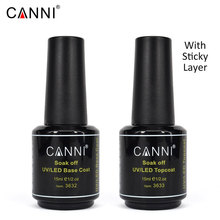 CANNI Topcoat 15ml Base Coat Nail Salon Design Factory Price DIY 3633 Soak off UV LED Nail Gel Polish Sticky Top Coat Finish Gel(China)
