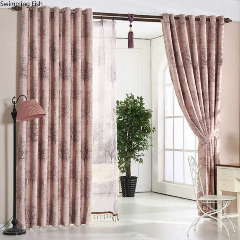 Modern simple fashion tree Jacquard Sheer Curtains for Bedroom window Curtain for Living Room, 1 Panels, Size can be customized